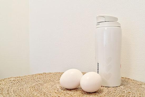 水筒の茶渋を卵の殻でお掃除